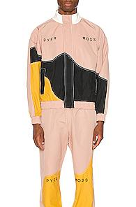 Pyer Moss Logo Wave Track Jacket In Black,pink,yellow