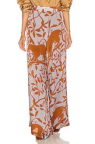 Johanna Ortiz Coffee Introspection Pant In Blue,brown,floral