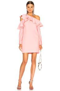 Oscar De La Renta One Shoulder Ruffle Trim Mini Dress In Pink