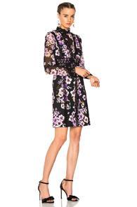 Giambattista Valli Printed Mini Dress In Black,floral,purple