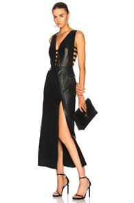 Understated Leather Ultimate For Fwrd Leather Cage Dress With Slit In Black