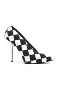 Stella Mccartney Checkered Print Heels In Black,white,checkered & Plaid
