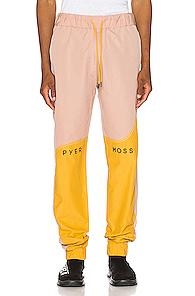 Pyer Moss Logo Wave Panel Track Pant In Black,pink,yellow