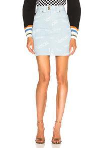 Versace Logo Print Denim Skirt In Abstract,blue