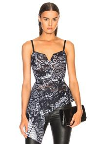 Roland Mouret Garforth Printed Striped Organza Top In Abstract,blue