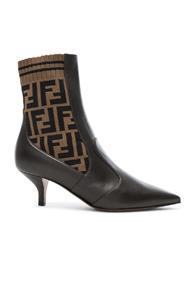 Fendi Rockoko Logo Ankle Boots In Brown