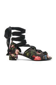 Erdem Riyeka Convertine Mid Heel Sandals In Black,floral