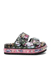 Alexander Mcqueen Leather Sandals In Pink,floral