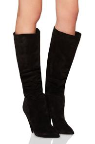 Saint Laurent Era Suede Heeled Thigh High Boots In Black