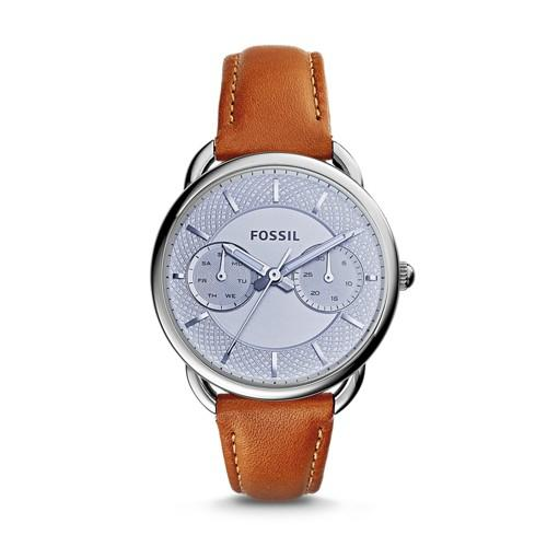 Fossil Tailor Multifunction Dark Brown Leather Watch Es3976 Silver