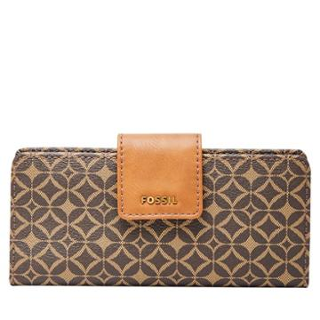 Fossil Madison Zip Clutch  Wallet Multi Brown- Swl2030249