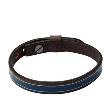 Fossil Striped Blue Leather Bracelet  Jewelry - Ja7000040