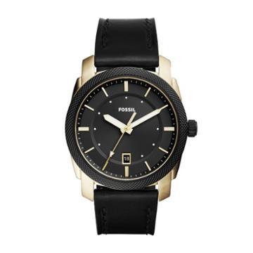 Fossil Machine Three-hand Date Black Leather Watch  Jewelry - Fs5263