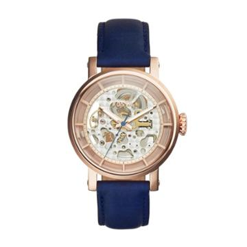 Fossil Original Boyfriend Automatic Navy Leather Watch   - Me3086