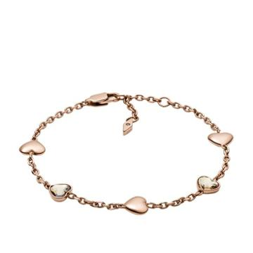 Fossil Multi-faceted Heart Rose Gold-tone Stainless Steel Bracelet  Jewelry - Jof00459791