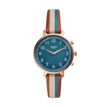 Fossil Hybrid Smartwatch - Cameron Green Stripe Leather  Jewelry - Ftw5053
