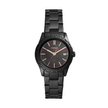 Fossil Adalyn Three-hand Date Black Stainless Steel Watch  Jewelry - Bq3441