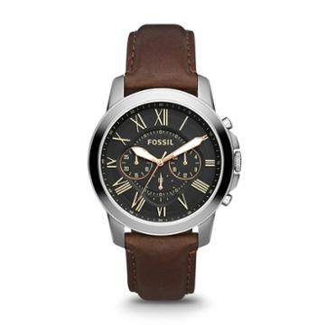 Fossil Grant Chronograph Brown Leather Watch   - Fs4813ie