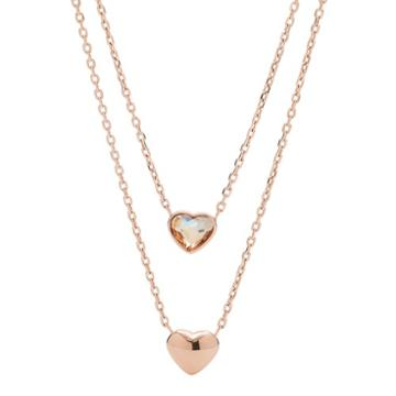 Fossil Convertible Double Heart Rose Gold-tone Stainless Steel Necklace  Jewelry - Jof00465791
