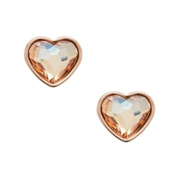 Fossil Multi-faceted Heart Rose Gold-tone Stainless Steel Earrings  Jewelry - Jof00455791