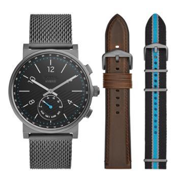 Fossil Hybrid Smartwatch - Barstow Smoke Stainless Steel Mesh Interchangeable Strap Box Set  Jewelry - Ftw1184set