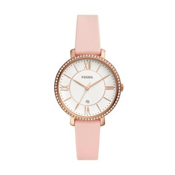 Fossil Jacqueline Three-hand Date Blush Silicone Watch  Jewelry - Es4670