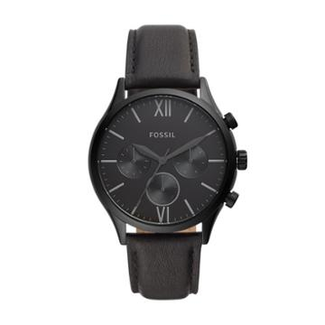 Fossil Fenmore Midsize Multifunction Black Leather Watch  Jewelry - Bq2364