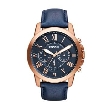 Fossil Grant Chronograph Navy Leather Watch  Jewelry - Fs4835ie