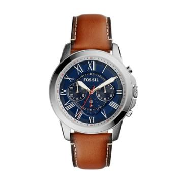 Fossil Grant Chronograph Light Brown Leather Watch  Jewelry - Fs5210ie