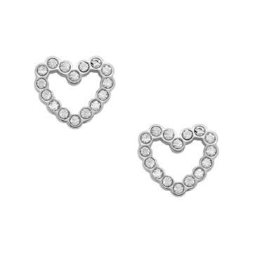 Fossil Open Heart Stainless Steel Earrings  Jewelry - Jof00454040