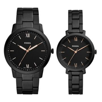 Fossil His & Her Three-hand Black Stainless Steel Watch Box Set  Jewelry - Fs5514set
