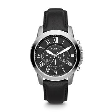 Fossil Grant Chronograph Black Leather Watch   - Fs4812ie