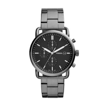 Fossil The Commuter Chronograph Smoke Stainless Steel Watch  Jewelry - Fs5400
