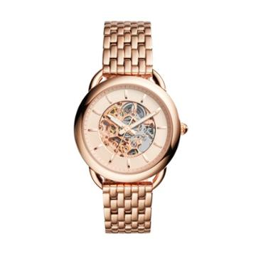 Fossil Tailor Automatic Rose Gold-tone Stainless Steel Watch Me3145 Pink