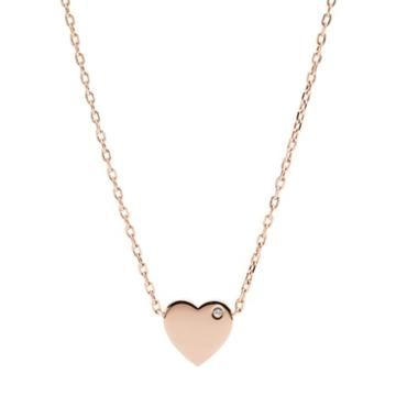 Fossil Heart Rose Gold-tone Stainless Steel Necklace  Jewelry - Jof00463791