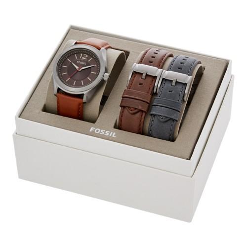 695e1ec39 Fossil Editor Three-hand Interchangeable Strap Box Set Jewelry - Bq2396set  | LookMazing