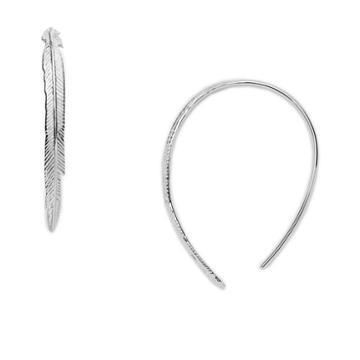 Fossil Sterling Silver Feather Pull-through Earrings Jfs00405040