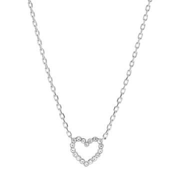 Fossil Open Heart Stainless Steel Necklace  Jewelry - Jof00464040