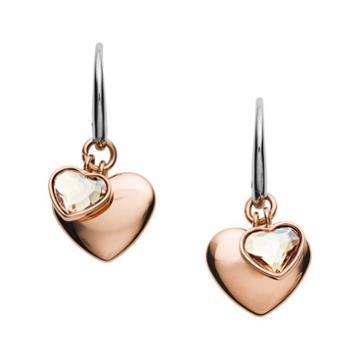Fossil Double Heart Rose Gold-tone Stainless Steel Drop Earrings  Jewelry - Jof00456791