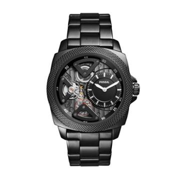 Fossil Privateer Sport Mechanical Black Stainless Steel Watch  Jewelry - Bq2210