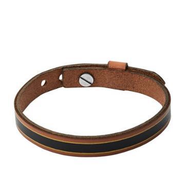 Fossil Striped Brown Leather Bracelet  Jewelry - Ja7001040