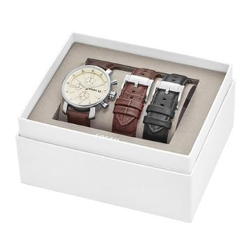 Fossil Rhett Chronograph Leather Watch And Interchangeable Strap Gift Set  Jewelry - Bq2141set