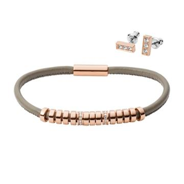 Fossil Bar Rose Gold-tone Stainless Steel Studs And Bracelet Box Set  Jewelry - Jgftset1038