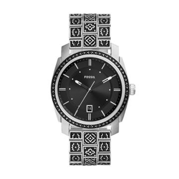 Fossil Machine Stainless Three-hand Date Stainless Steel Watch  Jewelry - Fs5506