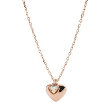 Fossil Double Heart Rose Gold-tone Stainless Steel Necklace  Jewelry - Jof00466791
