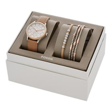 Fossil Modern Sophisticate Multifunction Tan Leather Watch And Jewelry Gift Set  Jewelry - Bq3417set