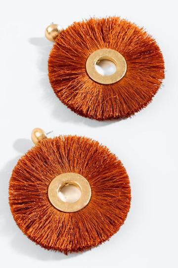 Francesca's Lindsey Round Tassel Earrings - Brown