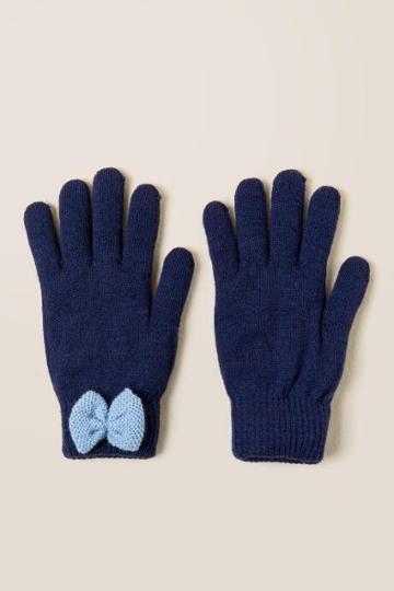 Francesca's Annabel Bow Gloves - Navy