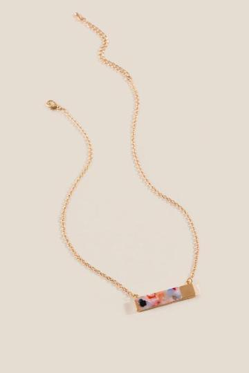 Francesca's Sia Marbled Resin Bar Pendant Necklace - Multi