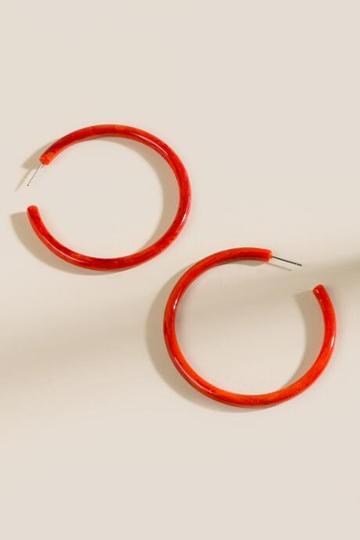 Francesca's Lena Marbled Resin Tube Hoops - Red